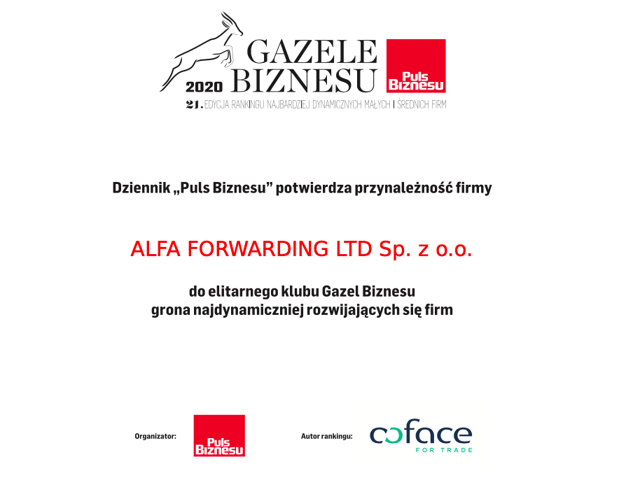 Alfa Forwarding z tytułem Gazeli Biznesu 2020